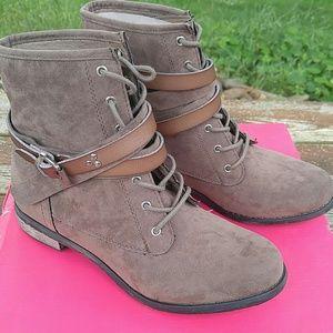 Brown Sueded Combat Boots